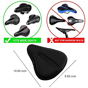 Zacro Gel Bike Seat, Big Size Soft Wide Excercise Bicycle Cushion For Bike Saddle, Comfortable Cover Fits Cruiser And Stationary Bikes, Indoor Cycling, Spinning With Waterpoof Cover from Zacro