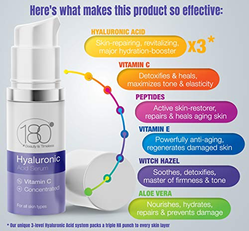Hyaluronic Acid Serum for Face by 180 Cosmetics  Strong for Age 30 w 3 Layers of HA and Vitamins For