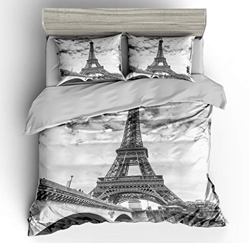 SHOMPE Twin Size Bedding Sets Paris Memory Eiffel Tower,3 Piece Duvet Cover Sets with Pillow Shams for Teens Boys Girls,NO Comforter (Eiffel Tower Comforters)