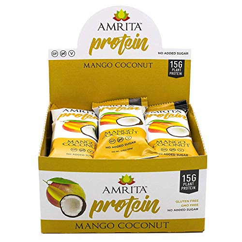 Blended Mango Butter - Mango Coconut Plant-Based Protein Bars, 12 Pack by Amrita Health Foods