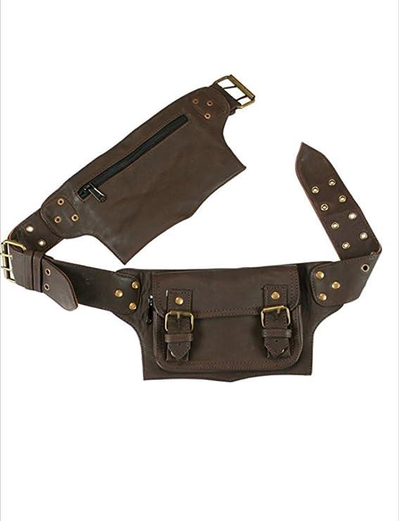 brown Mens Boys Vintage Leather Messenger Belt Sling School Leather Utility Pouch Fanny Pack Messenger Waist Belt Christmas Black Friday Cyber Monday Thanksgiving New Year Gift for Men /& Women