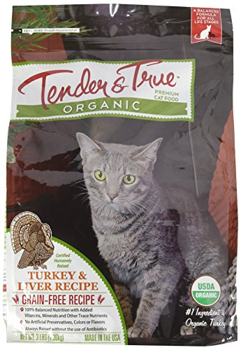 - Tender & True 854015 Organic Turkey & Liver kibble 3 lb bag dry cat food, One Size