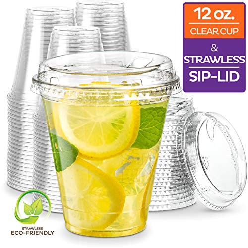 12 oz. Clear Cups with Strawless Sip-Lids, [50 Sets] PET Crystal Clear Disposable 12oz Plastic Cups with Lids