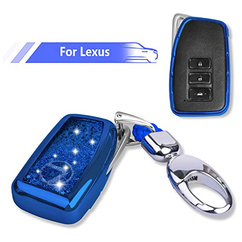 Lexus Key Fob Cover with Glitter Liquid Quicksand,Flowing Bling Sparkle Key Fob Case Fit 4 Buttons Keyless Entry of Lexus 2013-Up RX is ES GS LS NX RS GX LX RC LC - Blue