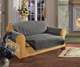 Elegant Comfort REVERSIBLE QUILTED Furniture Protector- Special Treatment Microfiber As soft as Egyptian Cotton, Gray Love Seat