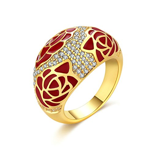 Adisaer Women Rings Gold Plated Enamel Flower Cubic Zirconia Size 8 Wedding Ring Bands for Bride (Marcasite Lace)