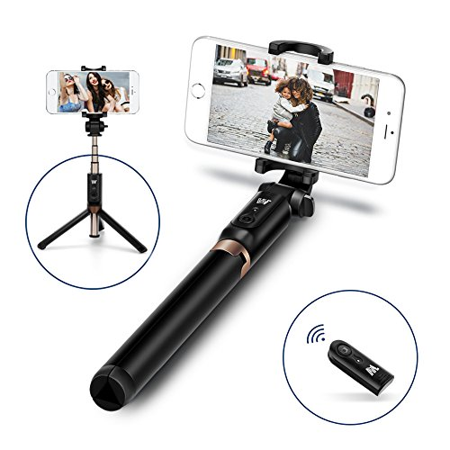 JSAUX Selfie Stick, Bluetooth Handheld Tripod 3 in 1 Foldable Extendable Selfie Stick Monopod with Built-in Remote for