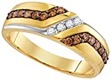 Solid 10k White and Yellow Two Toned Gold Round White And Chocolate Brown Diamond Men's Channel Set Wedding Band OR Fashion Ring (1/3 cttw)