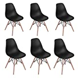 Homy Casa Eiffel DSW Style Mid Century Side Dining ChairsMolded Plastic Cover Natural Wood Legs(Set of 6, Black)