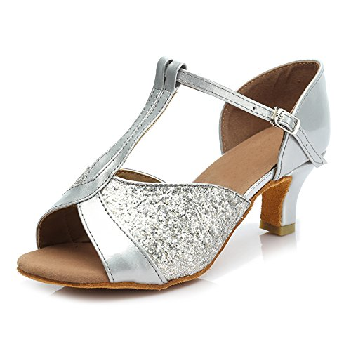 Damen 5cm Latin HROYL Ballsaal Modell Dance Schuhe 259 Silber Satin Tanzschuhe D7 Tvwdq