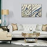 3Hdeko - 3D Blue Gold Abstract Wall Art Luxury Hand