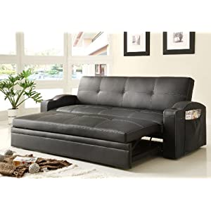 Homelegance 4803BLK Convertible/Adjustable Sofa Bed, Black Bi-cast Vinyl