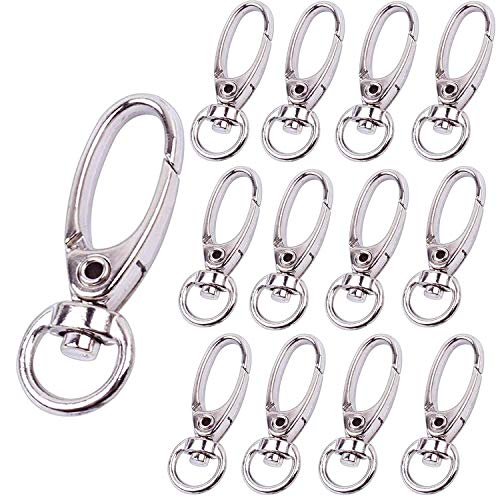 (Bonayuanda Pack of 50 D Swivel Trigger Clips Hooks Metal Key Ring Lobster Clasps)