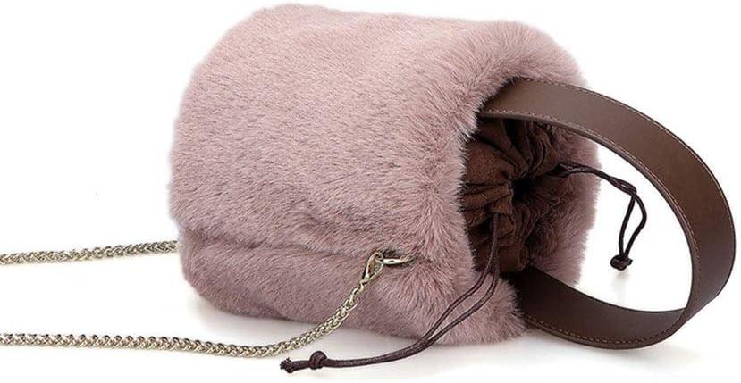 JIA JIA Autunno/Inverno Borsa della Pelliccia di Modo Borsa Secchiello Drawnstring Peloso Superficiale Sensazione di Caldo 15 * 13 * 16cm Splendente (Colore : Pink) White