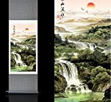 Chinese Traditional Characterystics Silk Wall Scroll Beautiful Feng Shui Landscape High Mountain Waterfall Birds Sun Scence Murals