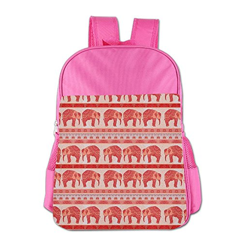 Red Ethnic Stripe Elephant Children's Backpack School Bag Suitable For 4-15 Year Olds