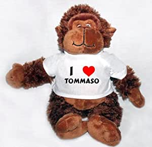 Plush Stuffed Gorilla toy with I Love Tommaso T-Shirt (first name/surname/nickname)