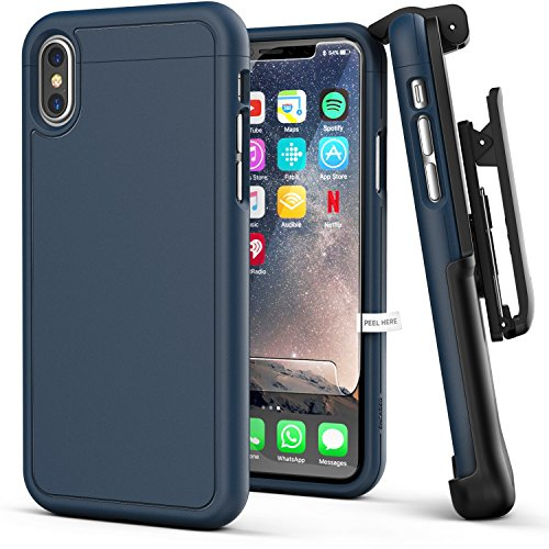 iPhone X Belt Case w/Screen Protector, Encased [SlimShield Series] Protective Grip Case with Holster Clip for Apple iPhoneX/iPhone Xs (2017/2018 Release) Navy Blue