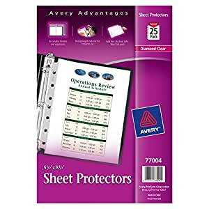 "Avery Mini Heavyweight Sheet Protectors, 5.5"" x 8.5"", Pack of 25 (77004)"
