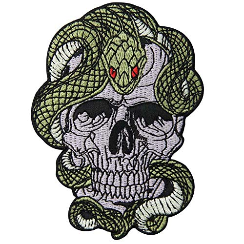 Snake and Skull Patch Embroidered Applique Badge Iron On Sew On Emblem (Skull For Snake)