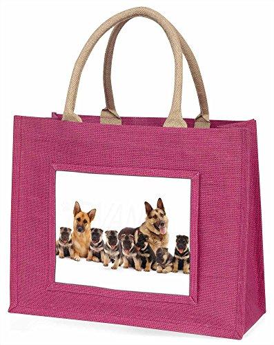 Advanta Deutscher Schäferhund Hunde Große Einkaufstasche Weihnachten Geschenk Idee, Jute, Rosa, 42x 34,5x 2cm