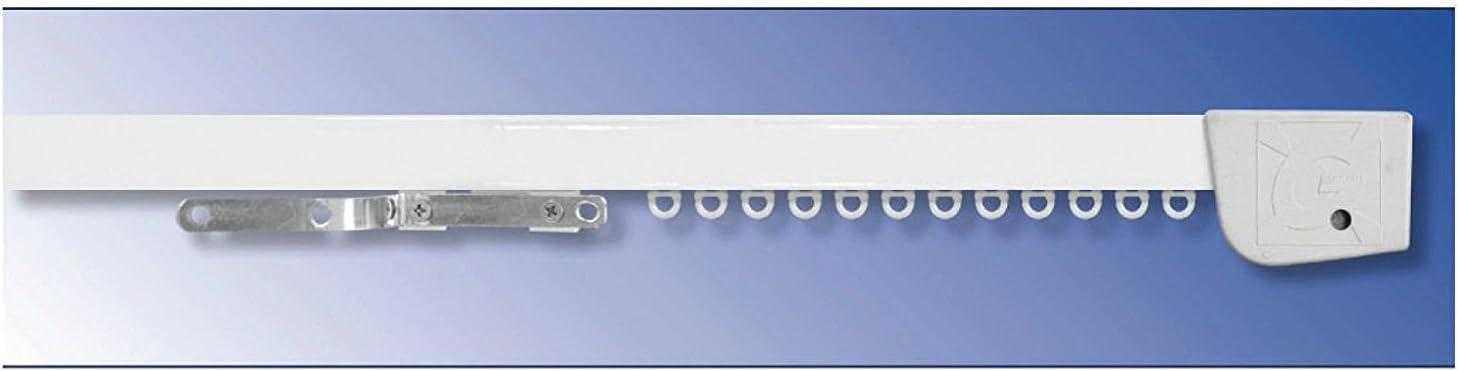 Carrello SCORRITENDA in Alluminio Bianco con TIRO A Corda Binario Apertura Centrale E Comando A DX Curvo L.200 Montaggio A SOFFITTO RILOGA Bastone per Tenda