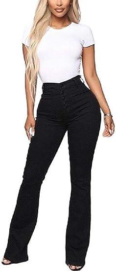 VITryst 女性ハイウエストストレッチセクシーなデニムパンツブーツカットジーンズポケット付き