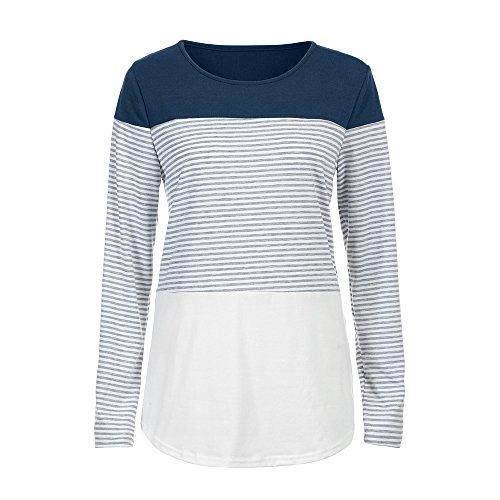 Chemise Patchwork Ray Filles T Haut Femmes Longue ~ Manche Casual Blouse S Bleu Femme XL Extensible Pull Pour Shirt Wolfleague qB8Znx7n
