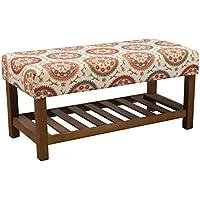 Kinfine Upholstered Top Storage Bench, Orange Suzani