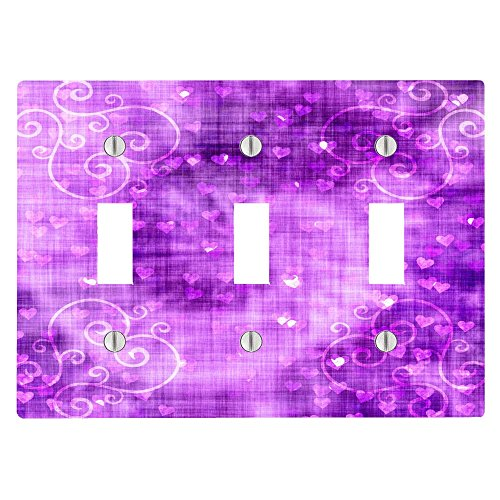 Electric Neon Swirl (Hearts on Purple Swirl Background 3 Toggle Electrical Switch Wall Plate (6.56 x 4.69in))