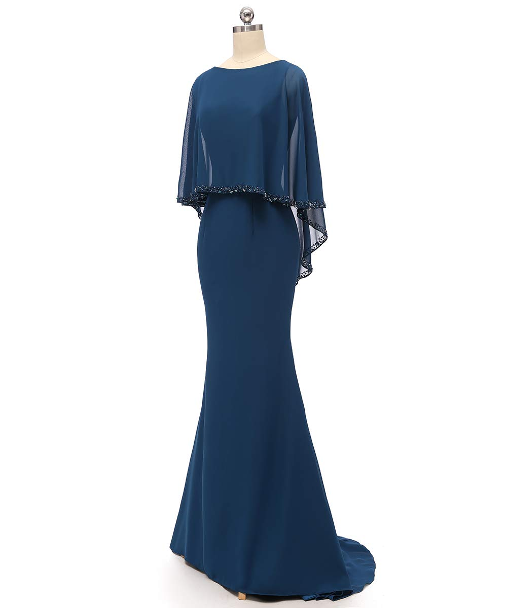 RJOAM-Women\'s Mother of The Bride Dresses Long Chiffon Beaded Shawl Wedding  Dresses 2019 Column Skirt Evening Gown with Cape Plus Size Navy 24W