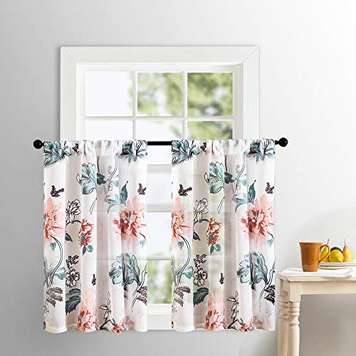 Sheer Tier Curtains Kitchen Tiers 36 inches Long Cotton Blend Peach Red Floral Leaves Printed Voile Short Cafe Curtains Bathroom Flower Print Small Semi Sheers Half Window Curtains Rod Pocket 2 Panels
