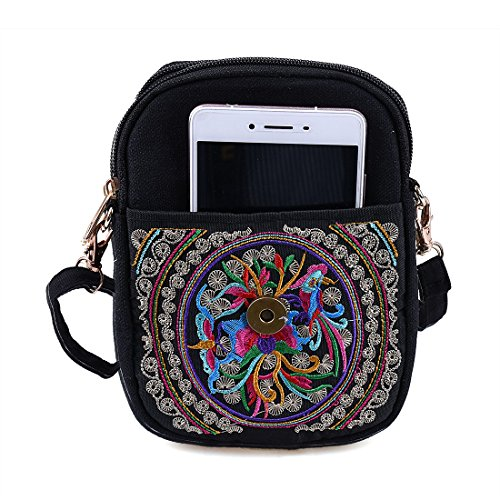 Jiyaru Crossbody Bag Pouch Canvas Women Cellphone Purse Multicolor Shoulder Mini Embroidered r1qrc0H