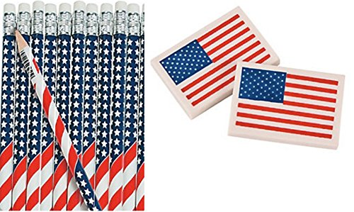 Patriotic Flag Pencil and Eraser Set (24 Pencils 24 Erasers)