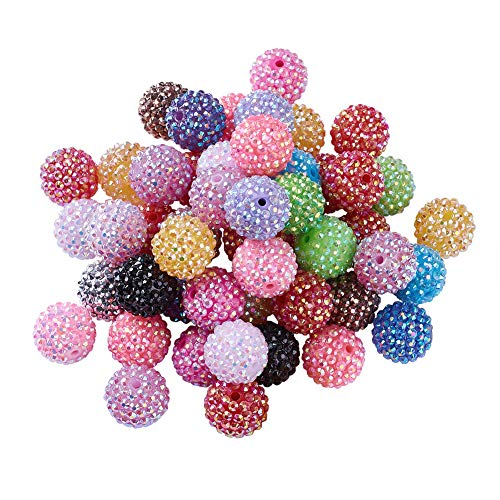 Beadthoven 100pcs 20mm Multi-Color Chunky Resin Rhinestone Bubblegum Ball Beads Disco Crystal Beading Charms for Jewelry Crafts Making Creative Handmade Home Decoration Accessoies Supplies