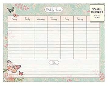 Weekly Desk Pad Organiser Planner To Do Notes Butterfly Rose