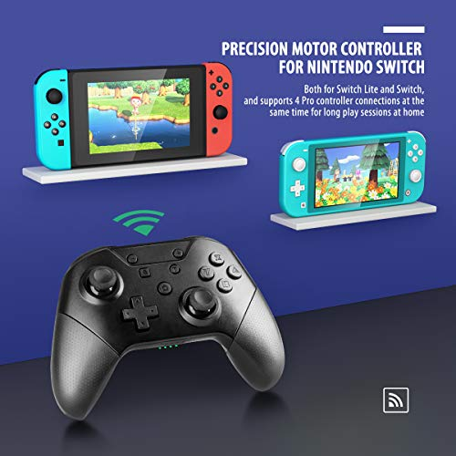 YCCTEAM Pro Controller for Switch/Switch Lite, Rechargeable Battery Wireless Game Controller for Switch with Adjustable Turbo, Motion Shocks and Wake up Function (Black)