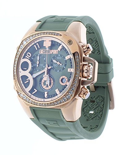 Technosport Radiance Chrono Crystal Accent Bezel Green Rubber Strap Women's Watch TS-103-12