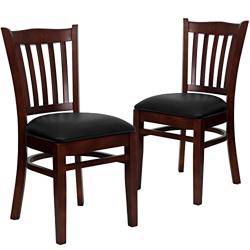 Flash Furniture 2 Pk. HERCULES Series Vertical Slat Back Mahogany Wood Restaurant Chair - Black Vinyl Seat