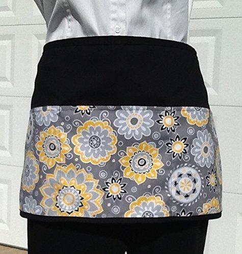 3 Pockets waist Apron Flower Print Waitress or Server, Black Half Apron. Check out 300 designs @ (Handmade Janet Aprons) For kitchen cooking,crafts, and restaurants
