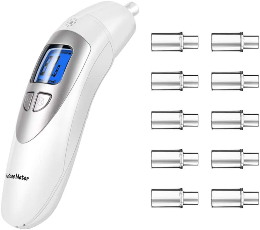 Ketone Breathalyzer, Ketogenic Breath Ketosis Breath Ketone Analyzer with 10 Mouthpiece(White)