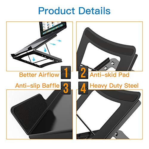 Laptop Stand - Height Adjustable Tablet Stand with 5 Tilt Levels & Anti-Slip Pads for Laptops, Computers, MacBook, Laptop Riser with Open Back for Ventilation Prevents Overheating by HUANUO (Image #3)