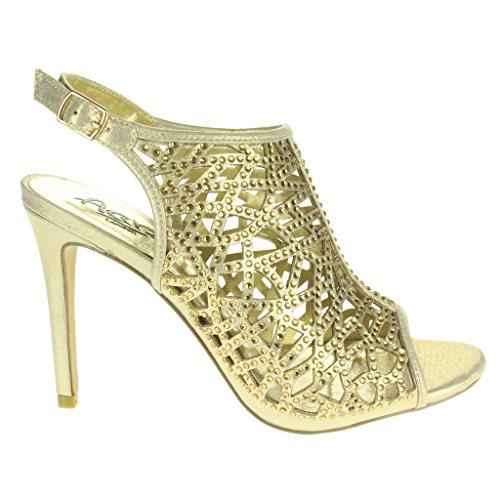 Mujer Señoras Corte con laser Moda Correa de tobillo Peep Toe Boda Nupcial Noche Fiesta Paseo Tacón alto Sandalias Zapatos Tamaño Oro.