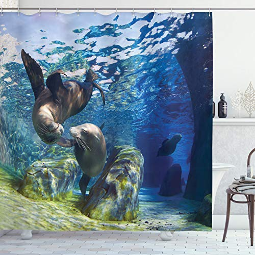 Ambesonne Sea Animals Decor Shower Curtain Set, Playful California Sea Lions Swimming in Clear Water Undersea World Theme Decoration, Bathroom Accessories, 69W X 70L Inches, Navy Lime