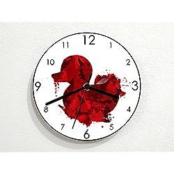 Rubber Duck - Blood Splatter Horror Style - Novelty Gift - Custom Name Wall Clock
