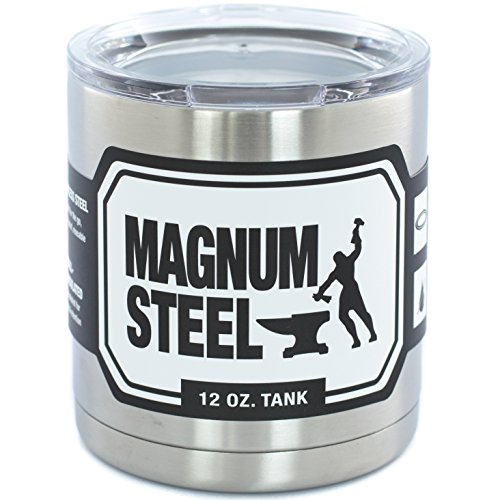 16 oz - Stainless Steel Lowball - Vacuum Insulated Cup With Lid by Magnum Steel