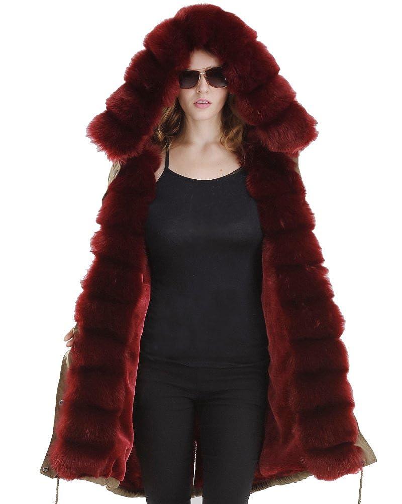 TALLA 48. Abrigo de mujer Roiii con capucha, pelo sintético, estilo informal, talla 38 a 50