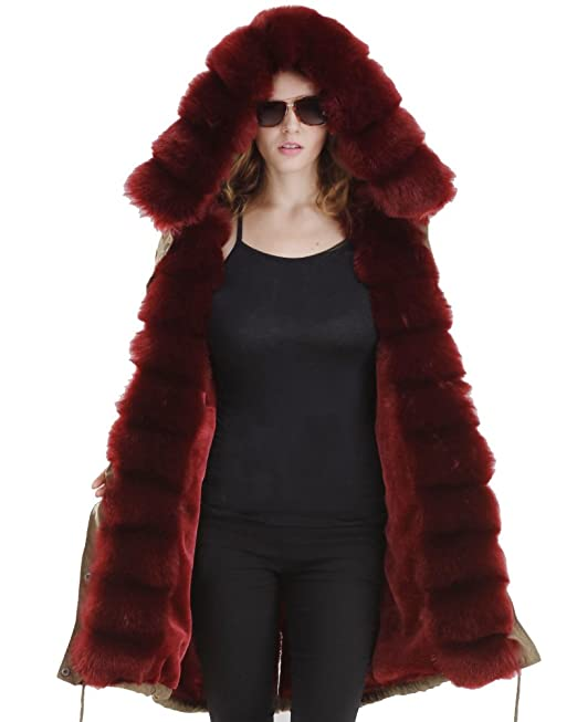 Abrigo de mujer Roiii con capucha, pelo sintético, estilo informal, talla 38 a 50: Amazon.es: Ropa y accesorios