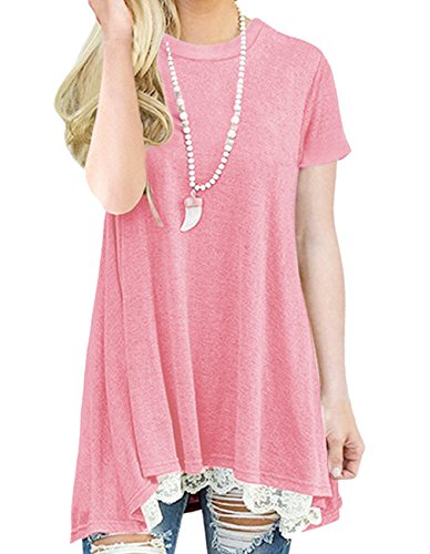 Women's Summer Short Sleeve Tunic Tops Lace Trim Tops Casual Blouse T Shirts (XL, Pink) by Fmolucity