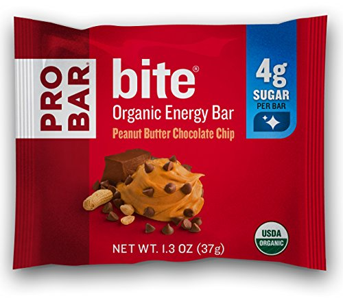 PROBAR - bite Organic Energy Bar - Peanut Butter Chocolate Chip - USDA Organic, Gluten-Free, Non-GMO Project Verified, Plant-Based Whole Food Ingredients, 4g Protein - Pack of 12 ()